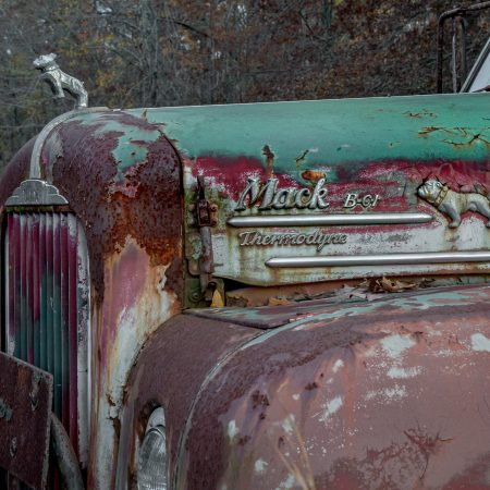 1940s rusted and peeling Mack Thermodyne truck with standing bulldog.