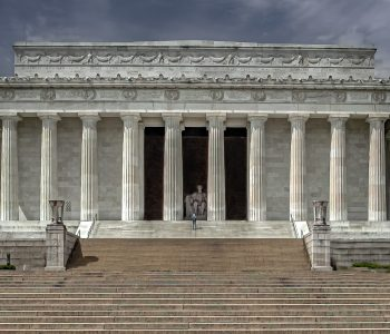 Lonely Man at Lincoln Memorial during COVID.