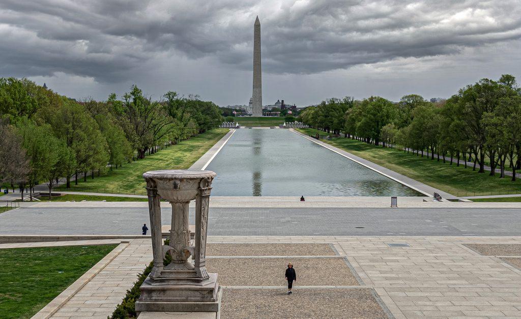 Washington D.C. during COVID-19 quarantine at Lincoln Memorial, Washington Monument and Reflecting Pool.
