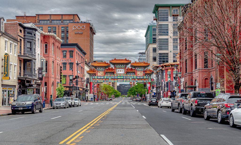 Washington D.C.'s Chinatown and Friendship Arch is still during Washington D.C.'s COVID-19 quarantine.